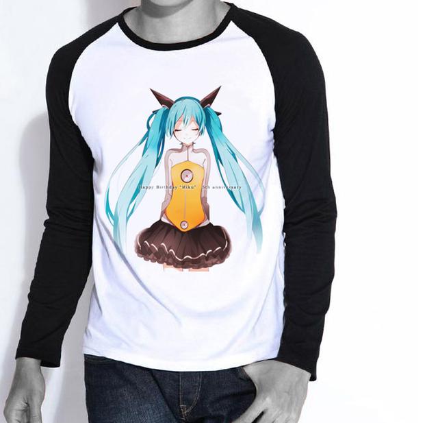 Envío Gratis Para Mujer Para Hombre Camisa de Miku Hatsune Miku Kagamine Len de Manga Larga Camiseta Superior Tee