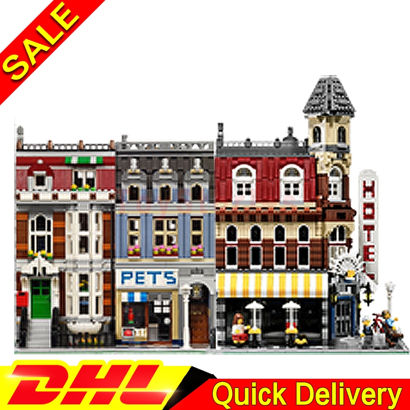 Lepin 15002 Cafe Corner + Lepin 15009 Pet Shop City Street Model Building Blocks Bricks Kits legoings Toys Clone 10182 10218 lepin 15003 town hall lepin 15009 pet shop supermarket city street model building blocks bricks lgoings toys clone 10224 10218