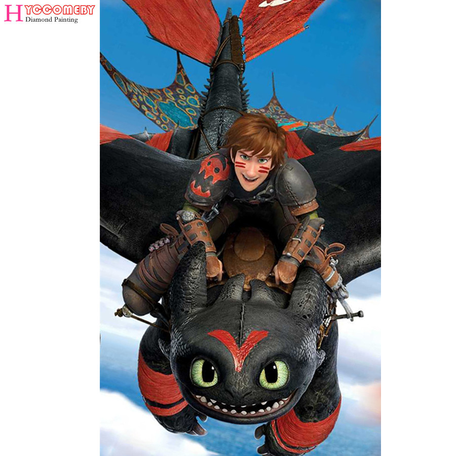 Us 619 50 Off5d Diamond Painting How To Train Your Dragon 2 Diy Full Round Square Diamond Embroidery Diamond Mosaic Cross Stitch Decoration In