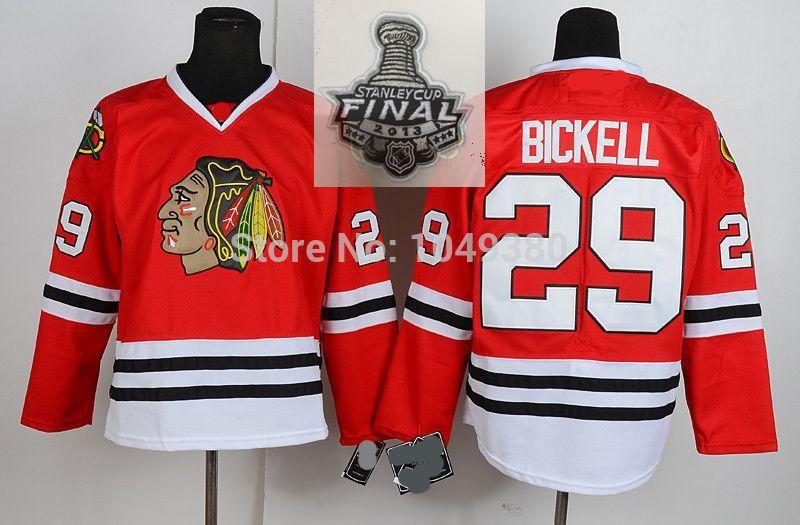 free shipping chicago blackhawks jerseys 29 bryan bickell jersey black red white