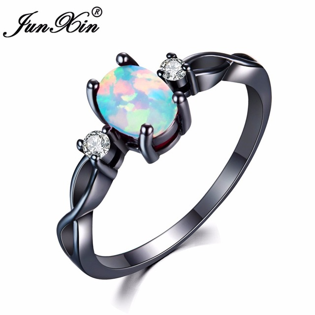 Junxin Fashion Blue White Oval Fire Opal Ring Black Gold Filled Jewelry Vintage Wedding Rings For Women Christmas Gifts