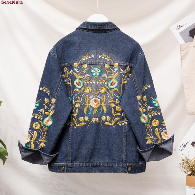 SexeMara fashion The New Loose Slim embroidery embroidered denim jacket Free shipping