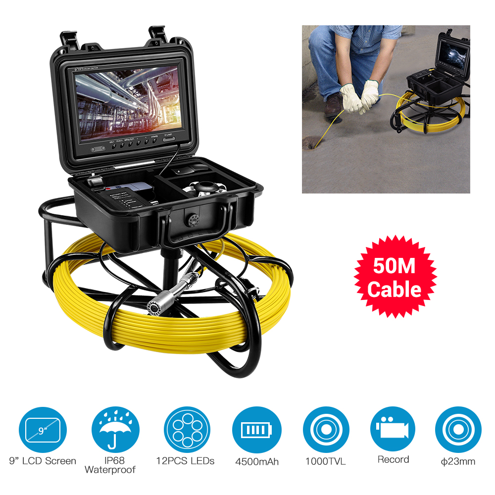 Eyoyo 9 Inch LCD Monitor 1000TVL 50M 23mm Pipe Inspection Video Camera,Drain Sewer Pipeline Industrial Endoscope InspectorEyoyo 9 Inch LCD Monitor 1000TVL 50M 23mm Pipe Inspection Video Camera,Drain Sewer Pipeline Industrial Endoscope Inspector