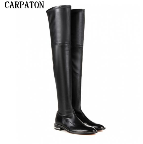 Winter hot selling sexy long boots black stretch leather flat boots woman over the knee flat boots chains decorations boots