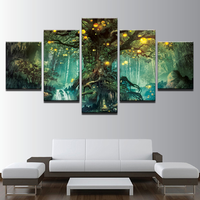 Paintings For Living Room Colours With Grey Canvas Wall Art Pictures Frames 5 Pieces Enchanted Tree Scenery Home Decor Hd Printed Magic Forest Posters