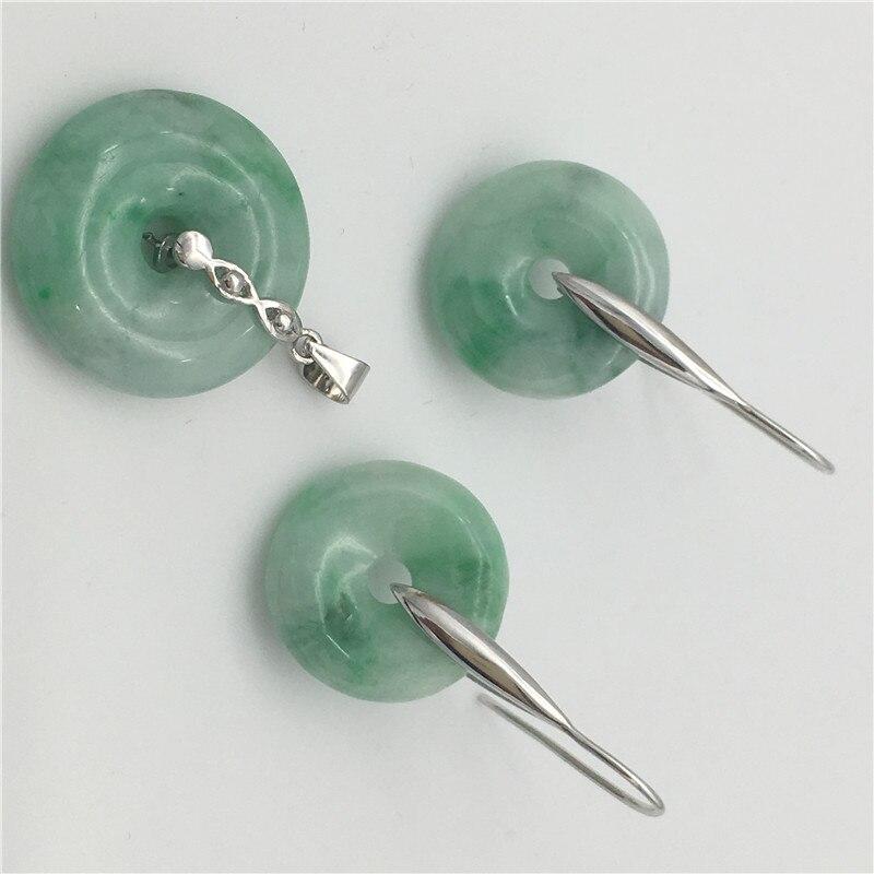 Nieuwe Natuursteen 100% EEN Licht Groene Vrede gesp 925 Sterling Zilveren Oorbellen Hanger ketting rond 12 14mm-in Sieradensets van Sieraden & accessoires op  Groep 2