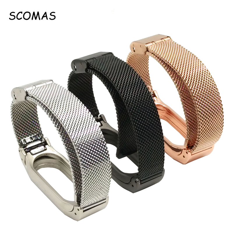 SCOMAS Metal Strap For Xiaomi Mi Band 2 Screwless smart Bracelet For MiBand 2 Wristbands Replacement Accessories For Mi Band 2