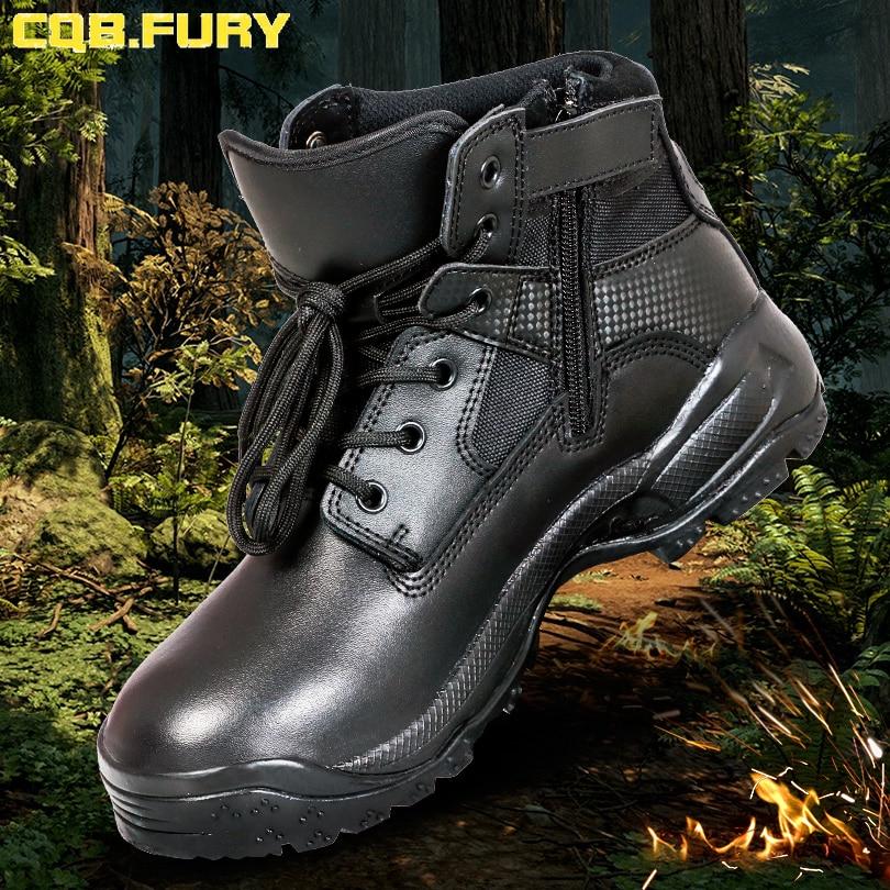 Cqb. fury 분할 가죽 망 군사 부츠 블랙 지퍼 전술 가죽 부츠 전투 착용 가능한 발목 스트랩 육군 부츠 크기 38 46-에서오토바이 부츠부터 신발 의  그룹 3