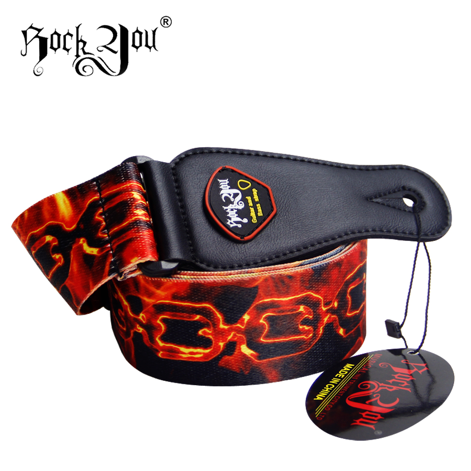 ROCK YOU Guitar belt electric guitar strap Flame pattern style embroidery, amumu traditional weaving patterns cotton guitar strap for classical acoustic folk guitar guitar belt s113