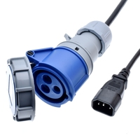 IEC 320 C14 to IEC309 316C6 Power Cords,10 Amps,IP44, H05VV F 1.5mm Cable,316P6 plug into IEC C13 Receptacle,1 to 10m