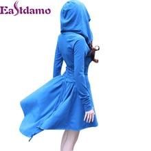 Eastdamo Autumn Winter Hooded Cloak Dress Women Sloid Hooded Sweatshirt Dress Long Sleev Asymmetrical Casual Brief Midi Dress