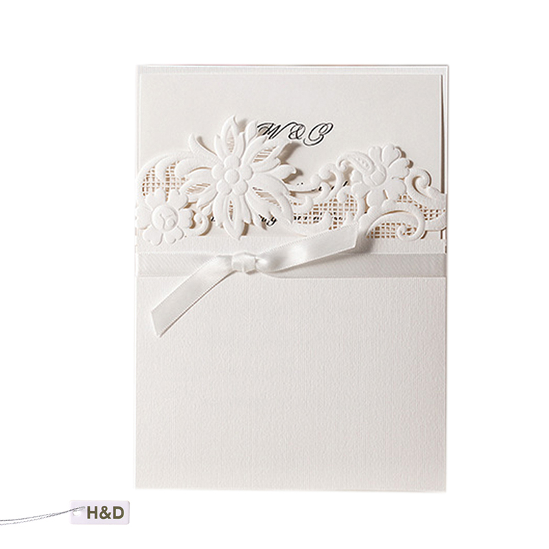 Romantic Wedding Invitations Cards Elegant Laser Cut Flower Bow Envelope Party Birthday Business Souvenirs Wedding Favor Decor colorful white ribbons bow laser cut wedding invitations set blank paper insert romantic printing invitation cards kit