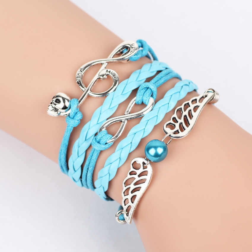 2018 new fashion jewelry infinite owl wing heart bird double leather multilayer Charm bracelet for women men jewelry wholesale