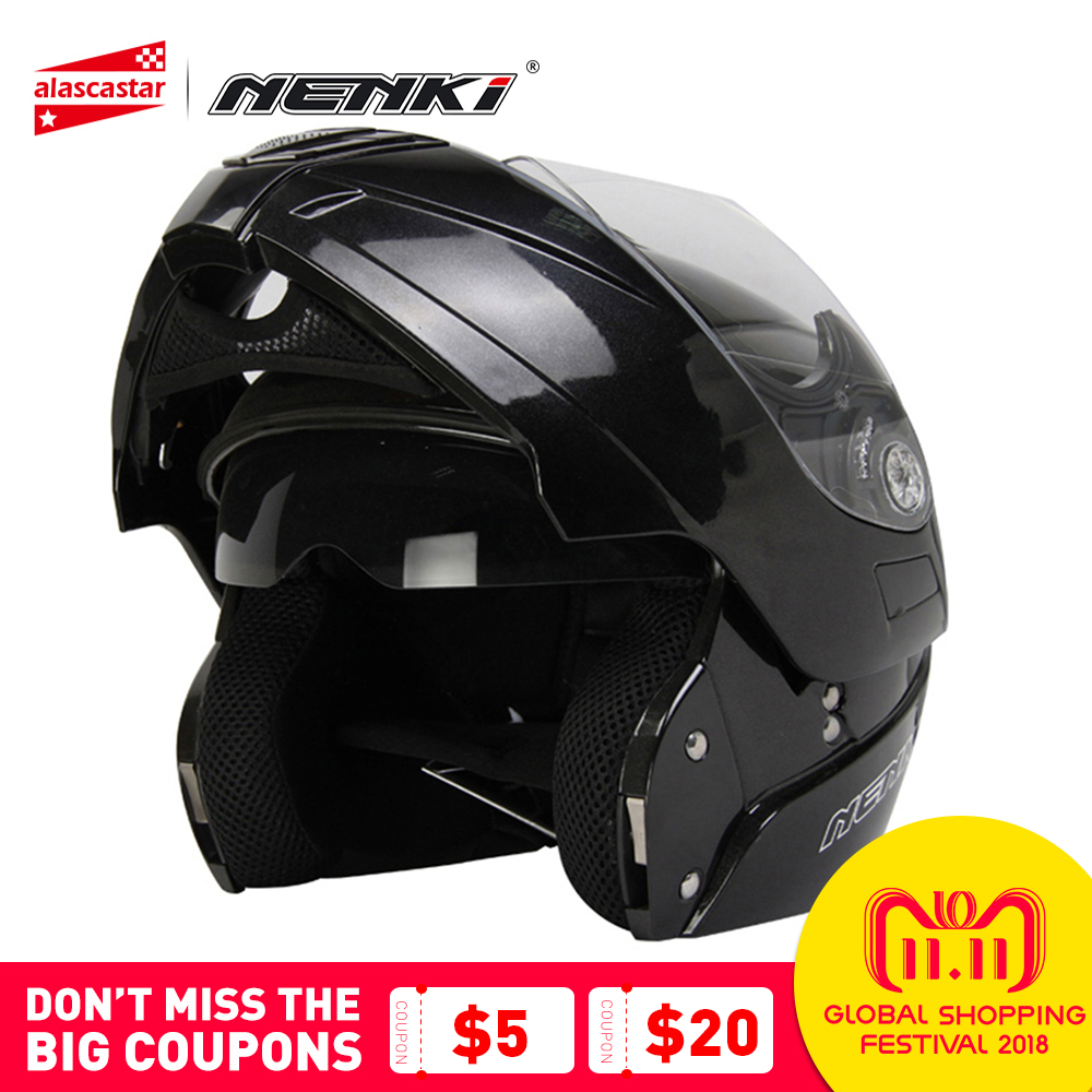 все цены на NENKI Motorcycle Full Face Helmet Modular Flip Up Street Bike Moto Motorbike RacingRiding Helmet with Dual Visor Sun Shield Lens