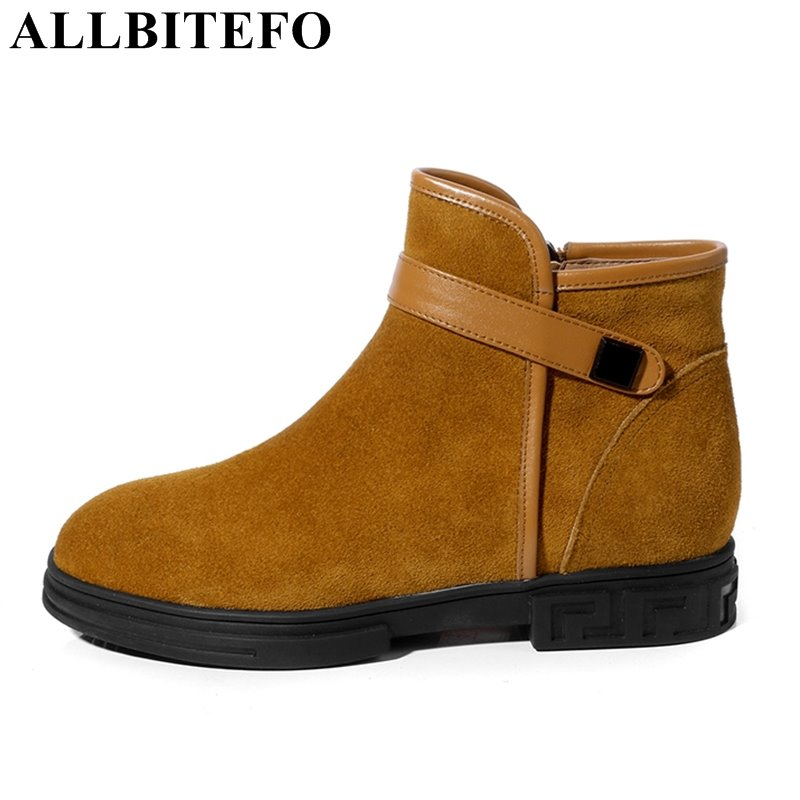 ALLBITEFO full genuine leather thick heel women boots new spring low-heeled platform casual ladies shoes ankle boots girls boots цена 2017