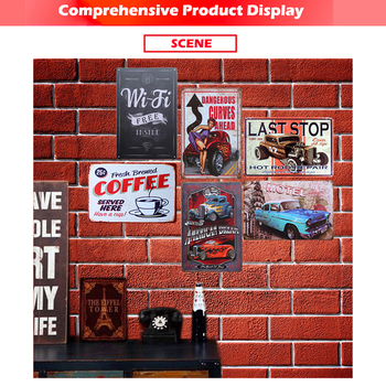 Coffee menu plaque metal vintage d