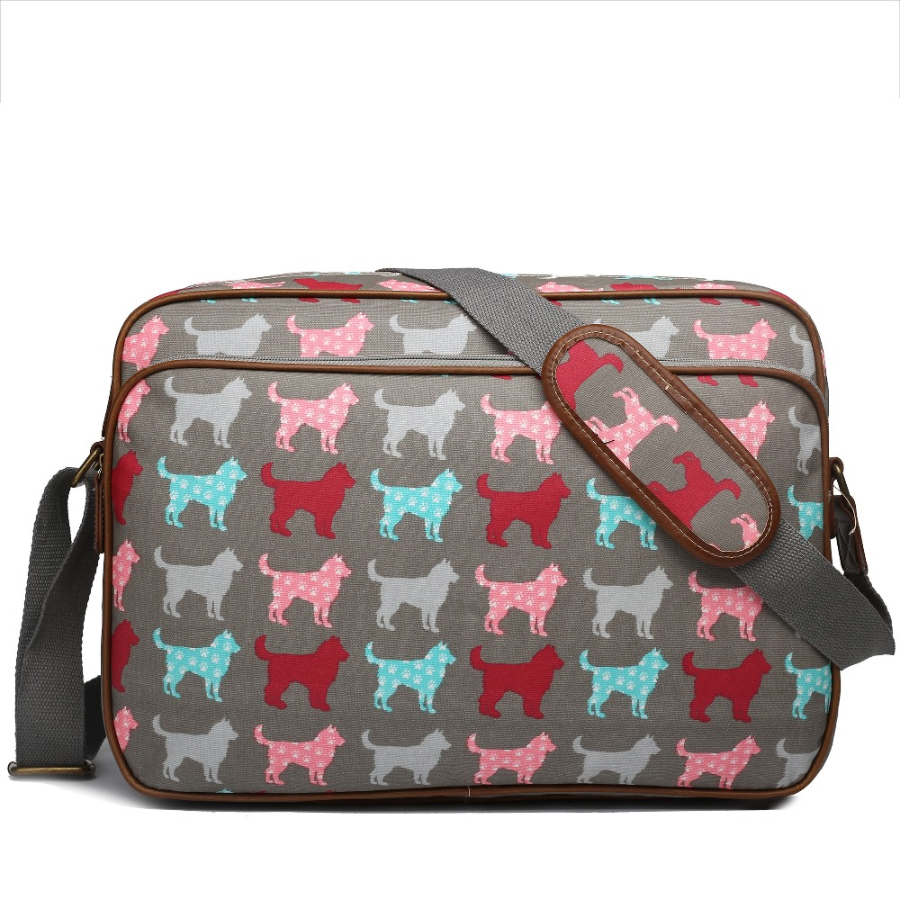 Unisex shoulder bag colorful messenger bags messenger bags for women <font><b>dog</b></font> prints school bag 6 colour OILCLOTH material