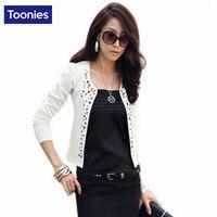 Short Womens Blazers Coats Fashion OL Commuter Formal Style Long Sleeved Suits Blazer Feminino Rivet Slim