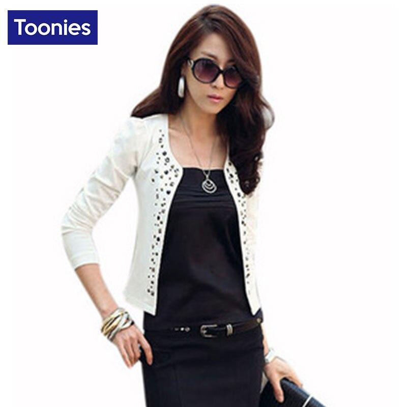 Короткие женские пиджаки пальто мода пр пригородных формальный стиль с длинным рукавом костюмы blazer feminino заклепки тонкий куртки и пиджаки