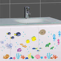 % PVC Underwater Sea Fish Wall Stickers bathroom Toilet Nursery Wall decals living room kids room Home decor Art Mural Poster