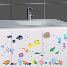 % PVC Bawah Air Laut Ikan Stiker Dinding kamar mandi Toilet Nursery dinding decals living room kids room Home decor Art Mural Poster(China)
