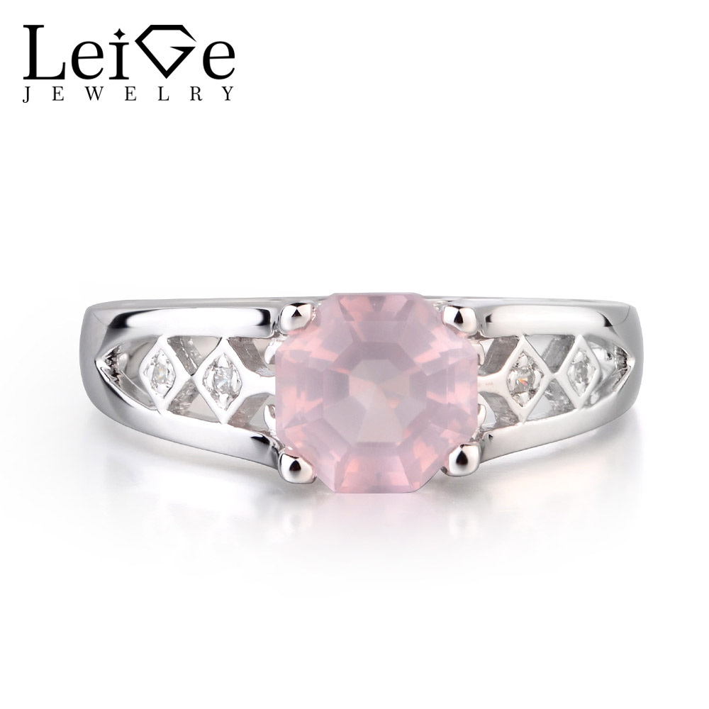Leige Jewelry Natural Pink Quartz Emerald Cut Gemstone Engagement Ring Solid 925 Sterling Silver for WomenLeige Jewelry Natural Pink Quartz Emerald Cut Gemstone Engagement Ring Solid 925 Sterling Silver for Women