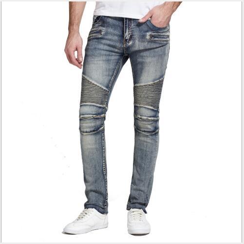Men Jeans 2018 New Autumn Biker Mid Waist Solid Denim Full Length Trousers Male Fashion Slim Fit Holes Oversize Pencil Pants
