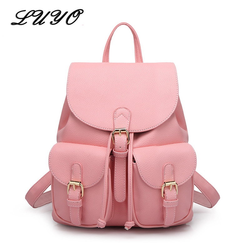LUYO Leather Cute Designer Backpack Women Student School Bags For Teenagers Mochila Feminina Travel Drawstring College Bag Japan fashion women leather backpack rucksack travel school bag shoulder bags satchel girls mochila feminina school bags for teenagers