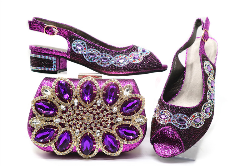 2c68e3e55e64b New fashion purple women pumps with big crystal and rhinestone decoration  for dress african shoes match