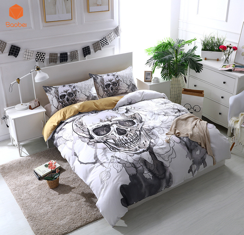Hot Sale 3D Flowers skull Duvet Cover With Pillowcases Sugar Skull Bedding Set Au Queen King