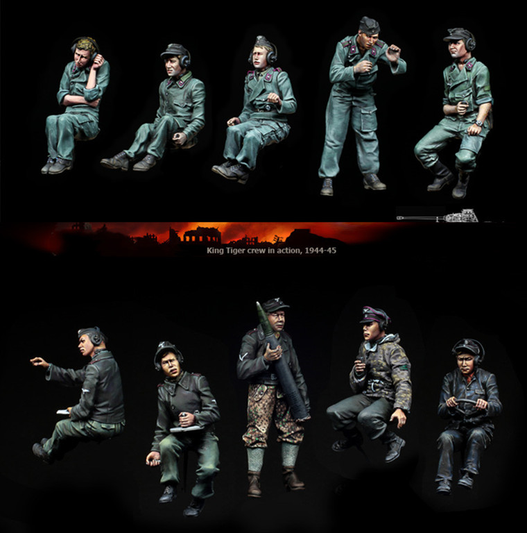 1/35 WWII German Armored Panther Crew 10 Soldiers Resin Model Miniature Resin Figure Unassembly Unpainted