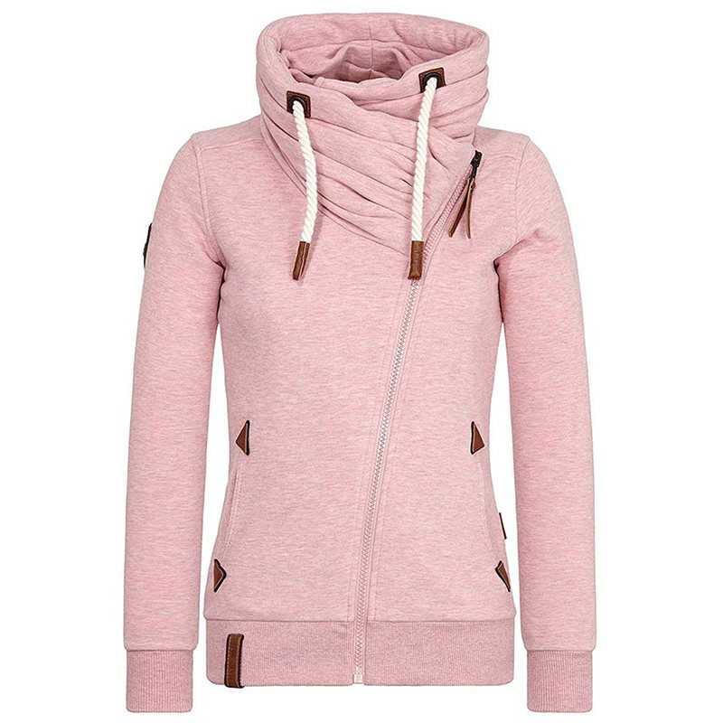Casual Pink Plus Size Tops Winter Warm Women Tops Slim Hooded Zipper Plain Gothic Streetwear Female Hoodies Fashion Sweatshirts