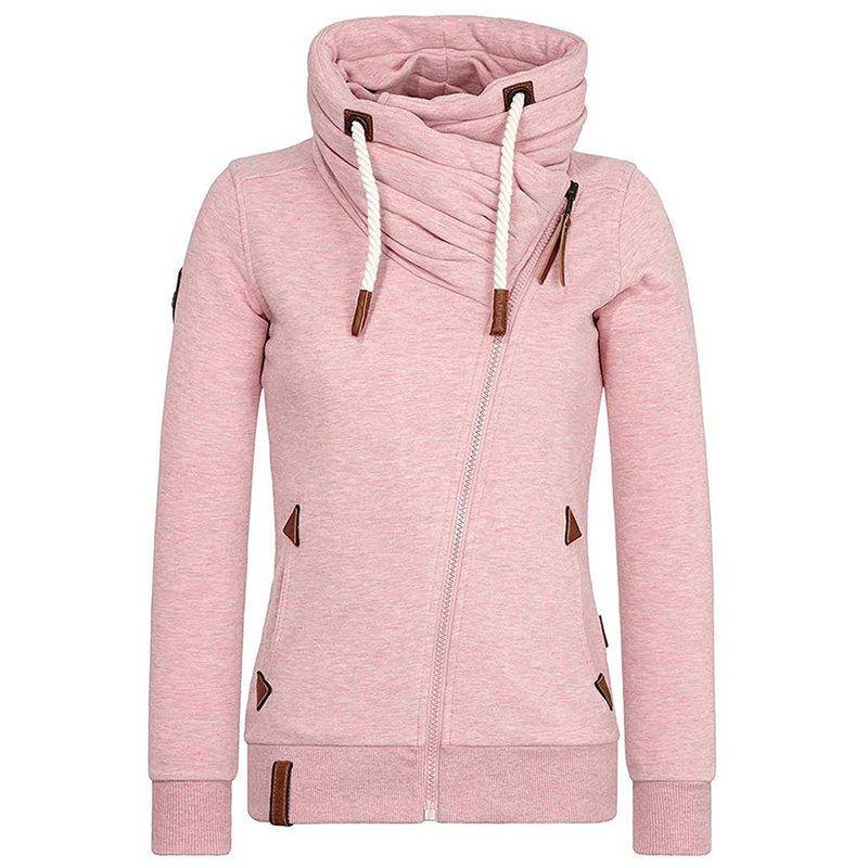 Casual Pink Plus Size Tops Winter Warm Women Tops Slim Hooded Zipper Plain Gothic Streetwear Female Hoodies Fashion Sweatshirts in Hoodies amp Sweatshirts from Women 39 s Clothing