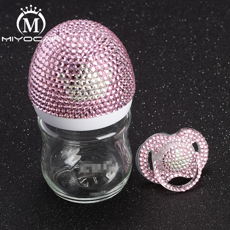 MIYOCAR Bling Bling Luxurious Pink And White Crown 120ml Glass Feeding Bottle And Bling Crown Pacifier For Baby Shower Gift