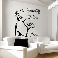 New Beauty Salon Wall Stickers Girl Face Decal Vinyl Decals Bedroom Art Decor