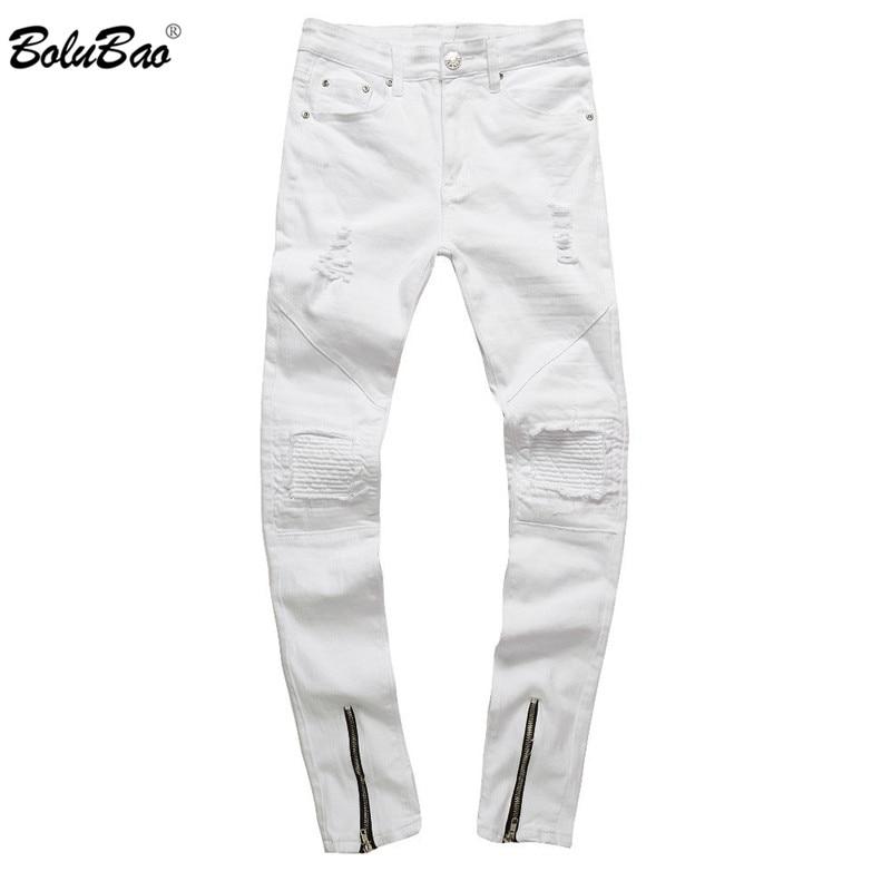 BOLUBAO 2018 New Skinny   Jeans   Mens White Hole Hip Hop Denim Pants Zipper Pencil West   Jeans   Fashion Ripped   Jeans   for Men