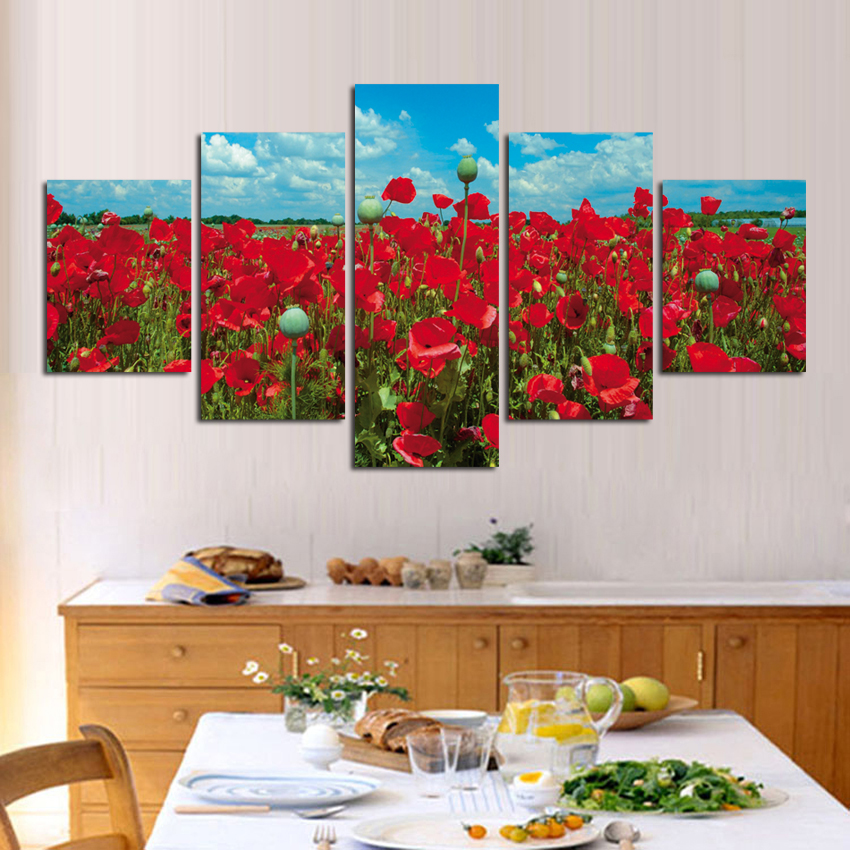 Hot Sale 5 Pcs/Set Flower Oil Painting Printed On Canvas Wall Decorative Art Pictures For Living Room Home Decoration