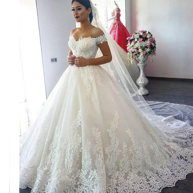 Vestido De Noiva Luxurious Ball Gown Bridal Wedding Dress 2019 Plus Size Appliques Arabic Dubai Wedding Dresses Robe De Mariage