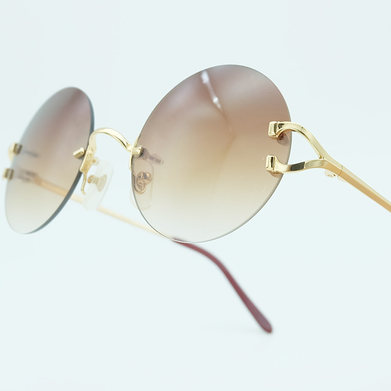 Rimless Sunglasses Round Metal Luxury Brand Design Fashion Mens Carter Sun Glass Women Glasses High Quality Eyewear