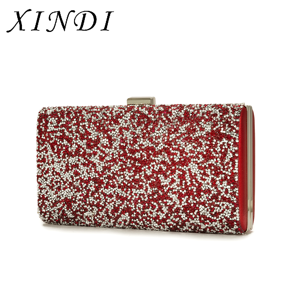 XINDI Red Designer Clutches Luxury Evening Bags Rhinestone Wedding party Clutch Lady Purse metal And Evening Handbag With Chain 2017 luxury designer clutches women gold evening bags long chain tassel shoulder bag wedding party rhinestone clutch purse l897