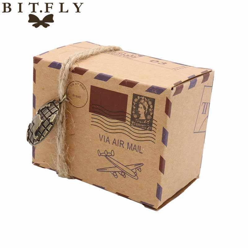 50 pcs Kraft DIY Vintage Travel Permen Kotak dengan Dunia dan kompas Chocolate Kemasan Kotak Hadiah dan Hadiah Tas Pesta Pernikahan nikmat