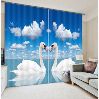 Beautiful Swan Lake 3D Photo Printing Blackout Window Curtains For Living room Bedding room  Hotel/Office Drapes Cortinas para