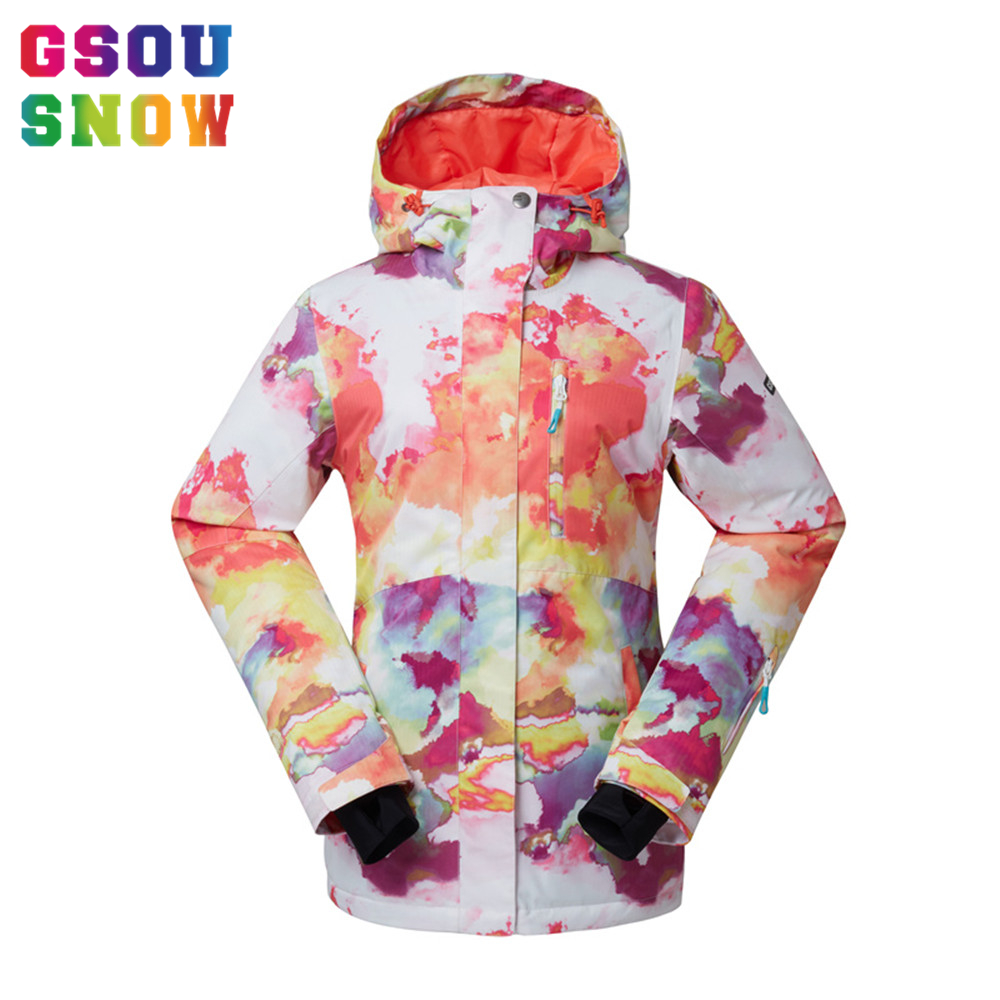 GSOU SNOW Brand Women Ski Jacket Waterproof Thicken Snowboard Jackets Winter Outdoor Female Clothes Winter Thermal Sports Coats hot sale women ladies snowboard jacket waterproof breathable ski jacket female winter snow coat sport motorcycle anorak clothes