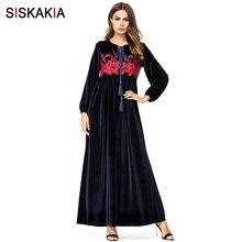 Siskakia Maxi Dresses Velvet Autumn Winter 2018 Women Long D