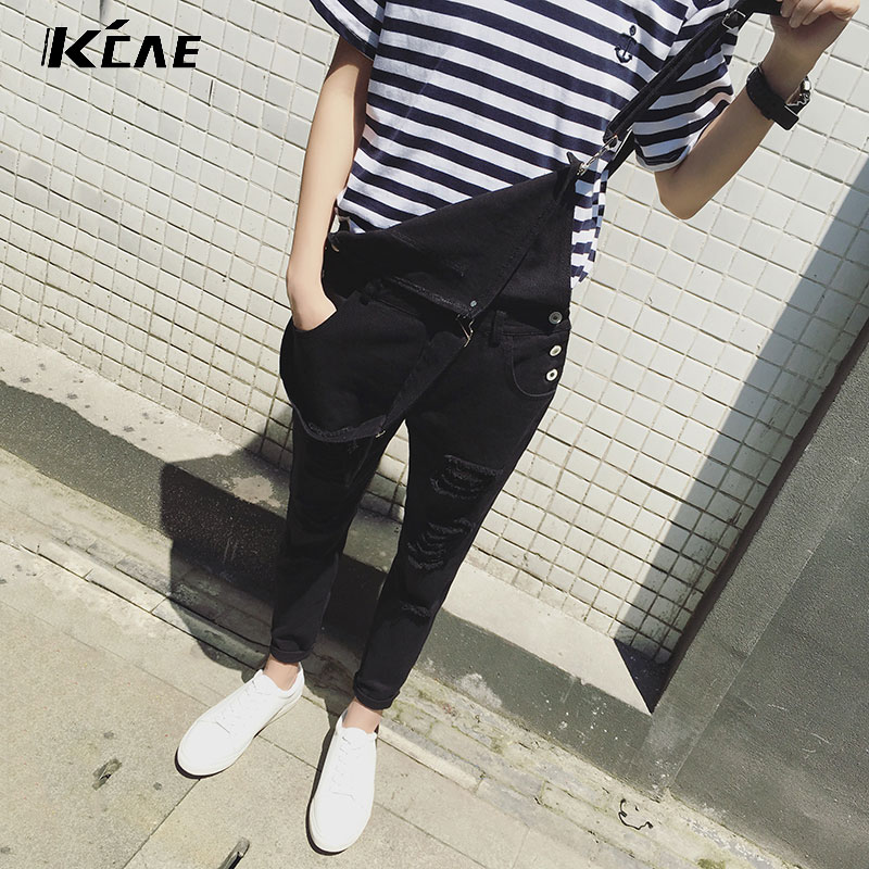 ФОТО Male Suspenders 2016 New Brand Casual Denim Overalls black White Ripped Jeans Pockets Men's Bib Jeans Boyfriend Jeans Jumpsuits