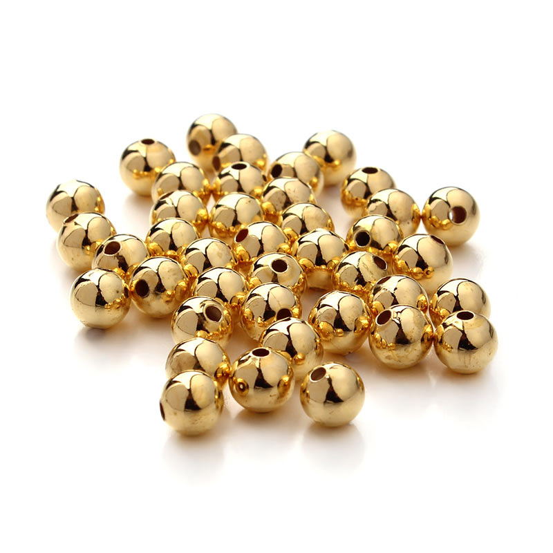 Silver// Gold Plated Round Smooth Spacer Loose Beads Jewelry Making 2.5//3//4//5//6mm