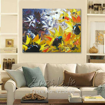 Flower hand-painted wall painting palette knife wild flower abstract oil painting canvas modern room decorates living room 2