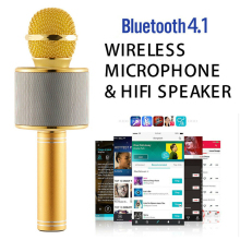 лучшая цена New Handheld Bluetooth Wireless Karaoke Microphone Phone Player MIC Home KTV Music Playing Singing Recorder KTV Microphone Phone