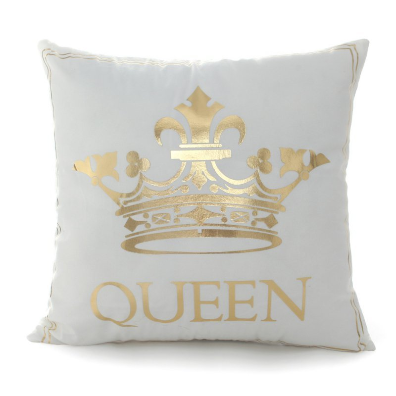 45x45cm Bronzing Pillowcase King Queen Letter Moon Lip Cute Throw Pillow Covers Decorative Square Pillowcase 2018 New Year