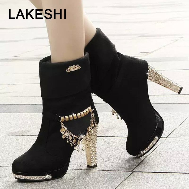 LAKESHI Boots Women Fashion Womens Shoes High Heel Ankle Boots Autumn Shining Shoes Motorcycle Ankle Boots Female Mujer BootieLAKESHI Boots Women Fashion Womens Shoes High Heel Ankle Boots Autumn Shining Shoes Motorcycle Ankle Boots Female Mujer Bootie